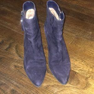 Michael Kors blue suede Dawson mid booties